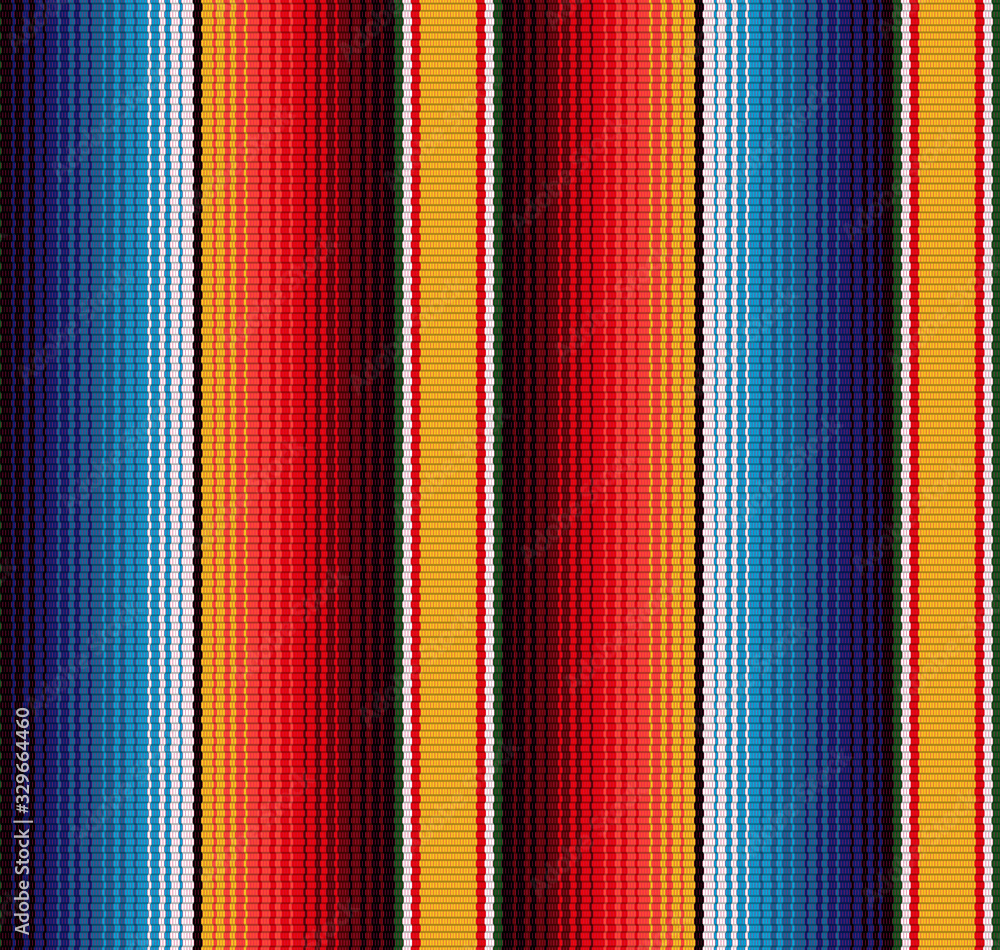Fototapeta Blanket stripes seamless vector pattern. Background for Cinco de Mayo party decor or ethnic mexican fabric pattern with colorful stripes.