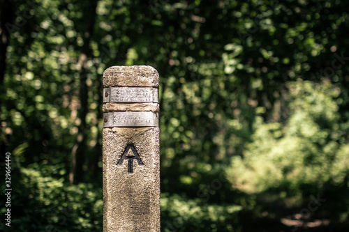 appalachian mark stone shows direction of appalachian  trail in shenandoah natio Wallpaper Mural