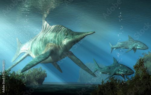 Obraz na plátně A massive creature pursues two sharks through the Triassic  seas