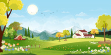 Panorama Landscape Of Spring Village With Green Meadow On Hills And Blue Sky, Vector Summer Or Spring Landscape, Panoramic Countryside Of Green Field With Farmhouse, Barn And Grass Flowers