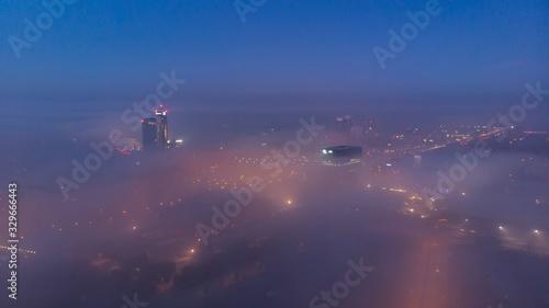 Fototapeta Miasta pokryte mgłą obraz