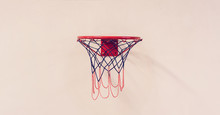 Basketball Hoop With Net Hanging On Wall Close-up