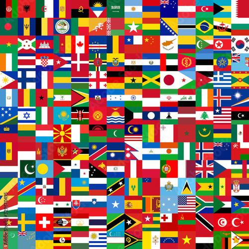 Square world flags Wallpaper Mural