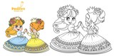 Two cute princesses in wreaths of rose flowers dancing outlined and color for coloring book