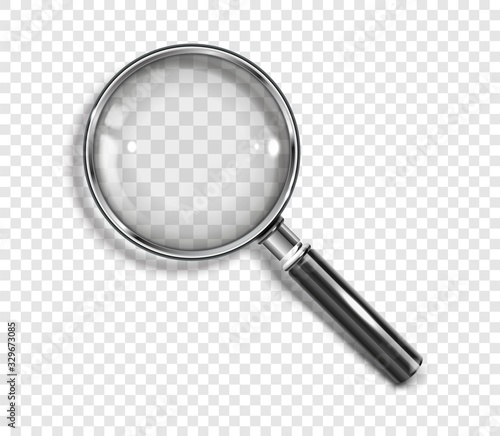 Realistic Magnifying glass with drop shadow on a transparent background - stock vector EPS 10 Canvas Print