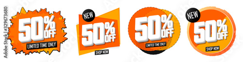 Photo Set Sale 50 off banners, discount tags design template, vector illustration