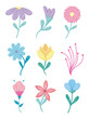 spring flowers icon set over white background