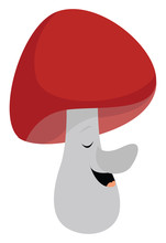 Mushroom With Big Nose, Illustration, Vector On White Background.