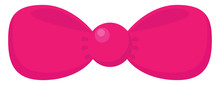 Pink Bow Tie, Illustration, Vector On White Background.