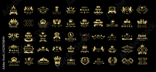 Leinwand Poster Golden Hotel Luxury Logo Set - Isolated On Black Background, Vector