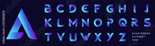 Rounded bold font of blue gradient glow ribbon letters set Wallpaper Mural