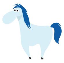 Blue Horse, Illustration, Vect...