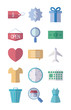 airplane and shopping icons set, flat style