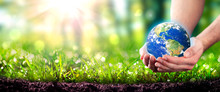 Hands Holding Planet Earth In Lush Green Environment With Soil And Sunlight - Earth Day Concept - Some Elements Of This Image Were Provided By NASA