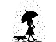 Silhouettes Girl With Umbrella...