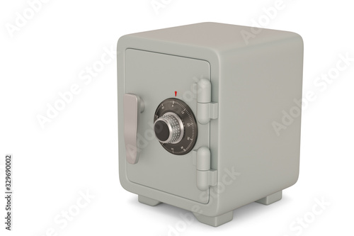 Fototapeta Grey blue safe box  isolated on white background. 3D illustration. obraz