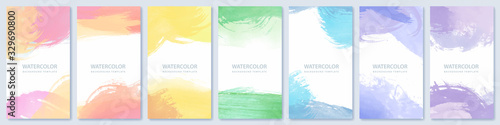 Obraz Set of light colorful expressive vector watercolor backgrounds for poster, brochure or flyer - fototapety do salonu