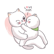 Cartoon Cute Adorable Mother And Baby Cat Kissing Vector.