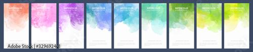 Fototapeta Big bundle set of light colorful vector watercolor backgrounds for banner or flyer obraz