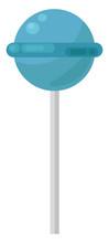 Blue Lollipop, Illustration, Vector On White Background.