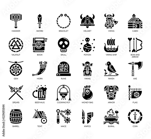 Photo Set of viking thin line and pixel perfect icons for any web and app project