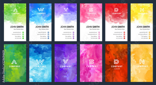 Big set of bright colorful business card vector vertical template with watercolor background