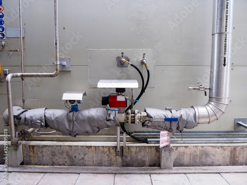 Pneumatic valve for On-Off type which apply industrial zone and popular to install with tank, pipe, pump and pond in Combined-Cycle Co-Generation Power Plant Canvas Print