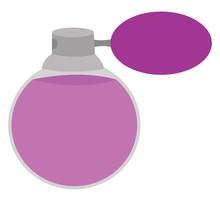 Purple Perfume, Illustration, Vector On White Background.