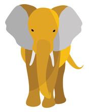 Yellow Elephant, Illustration, Vector On White Background.