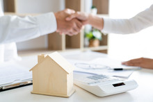 House Developers And Customer Shaking Hand After Finish Buying Or Rental Real Estate For Transfer Right Of Property