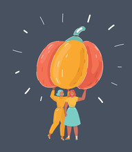 Two Woman Holding Big Pumpkin ...