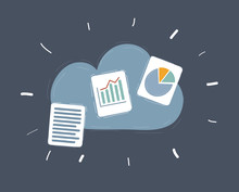 Vector Illustration Of Files On Cloud Storage Servies