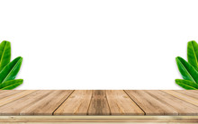 Wooden Table And Green Backgro...