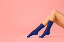 Legs Of Young Woman In Socks O...