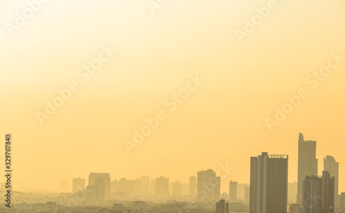 Fototapety, obrazy: Blurred abstract background of condo terraces,with panoramic views of the city, the distribution of residences in the capital