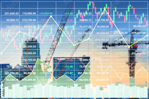 Fototapeta Stock index financial investment diagram data on blurry vision of future property and construction industry image background. obraz