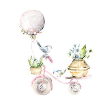 Hand Drawing Watercolor Spring Set Of  Bicycle With Balloon, Birds And Flowers In Baskets. Illustration Isolated On White