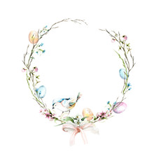 Hand Drawing Watercolor Spring Easter Wreath With  Wild Flowers, Bird And Branches. Illustration Isolated On White