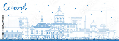 Canvastavla Outline Concord New Hampshire City Skyline with Blue Buildings.