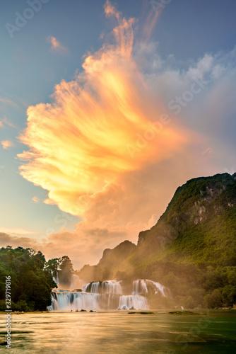 "Royalty high quality free stock image aerial view of "" Ban Gioc "" waterfall, Cao Bang, Vietnam. "" Ban Gioc "" waterfall is one of the top 10 waterfalls in the world. Aerial view - 329719816"