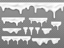 Realistic Dripping Milk Drops,...