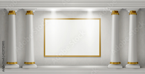 Naklejki tematycznie  antique-columns-stone-pillars-and-illuminated-blank-signboards-in-marble-wall-realistic-vector