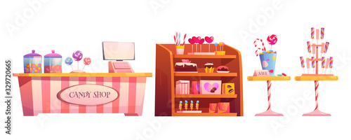 Candy shop empty interior furniture set with various pastry, cashier desk, shelf Tapéta, Fotótapéta