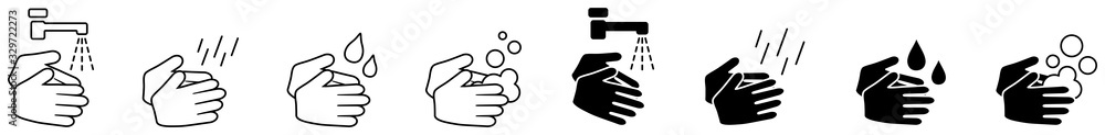 Fototapeta Wash your hands icons set, simple black and white hand drawing with water tap, drop, soap bubble sign