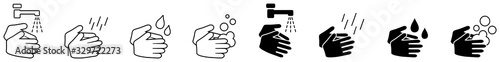 Obraz Wash your hands icons set, simple black and white hand drawing with water tap, drop, soap bubble sign - fototapety do salonu