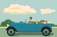 Girl Rides In Vintage Car With...