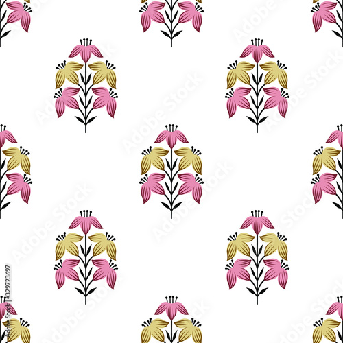 Seamless Asian damask floral pattern design on white background