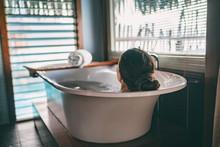 Bath Taking Woman Relaxing In ...