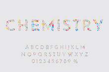 Vector Illustration. Abstract Structured Font. Polygonal Concept. Triangles With Circles Of Different Colors In The Form Of Atoms And Molecules. Letters And Numbers For Design Promotions, Sale Banners