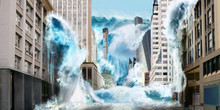 Big Tsunami Wave Destroy City ...